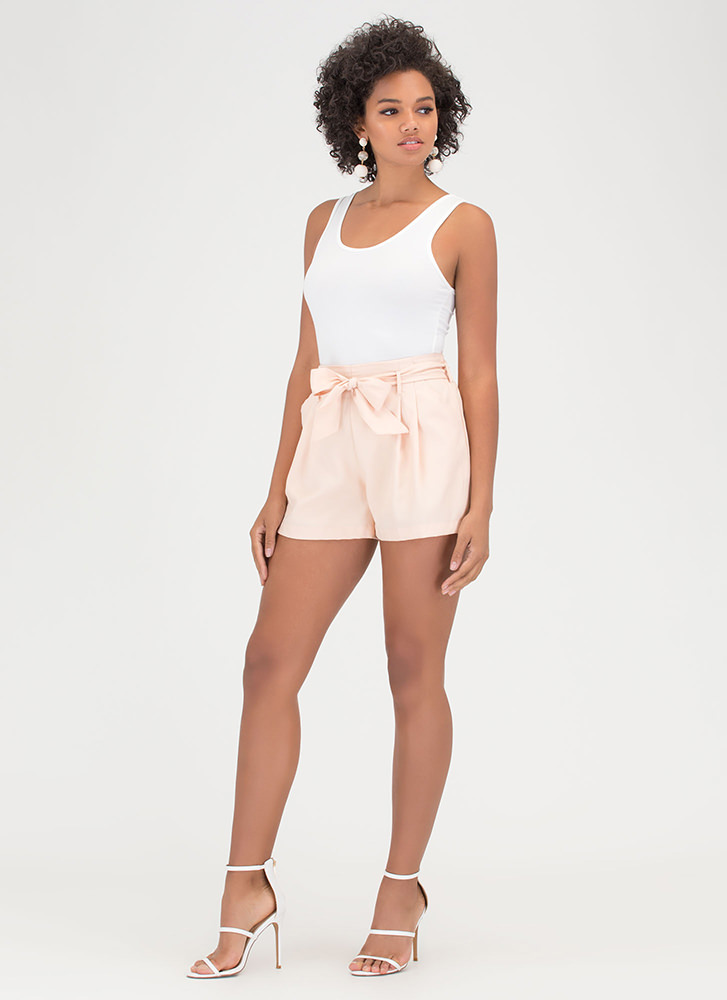 Pleats Please Tied Woven Shorts BLUSH