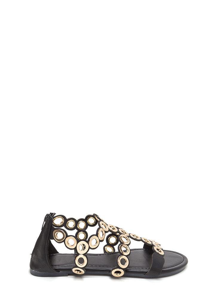 Ring To Light Caged Faux Leather Sandals BLACK (Final Sale)