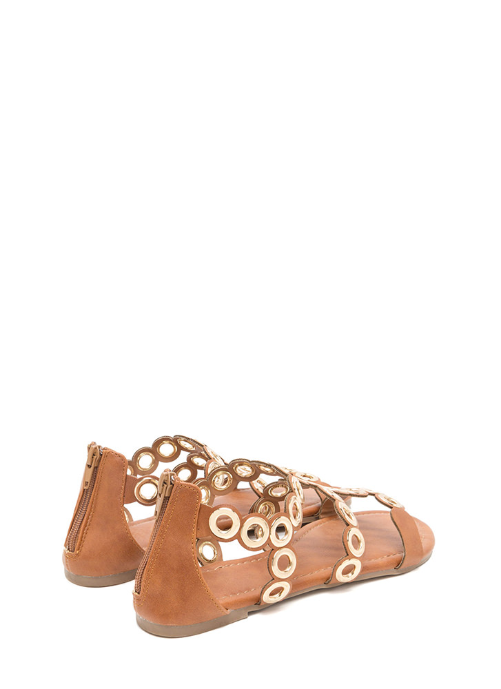 Ring To Light Caged Faux Leather Sandals COGNAC (Final Sale)