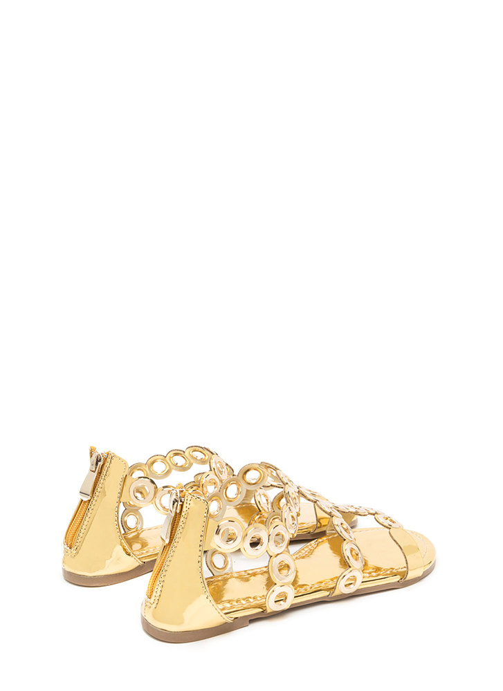 Ring To Light Caged Metallic Sandals GOLD