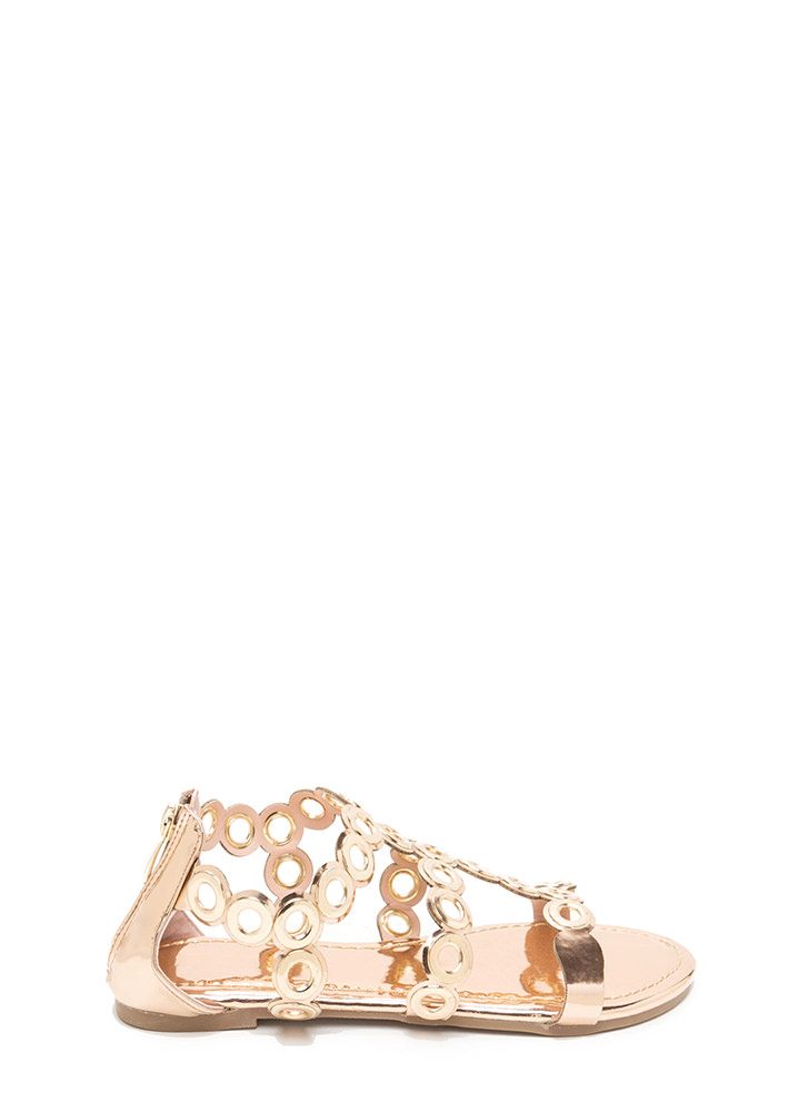 Ring To Light Caged Metallic Sandals ROSEGOLD