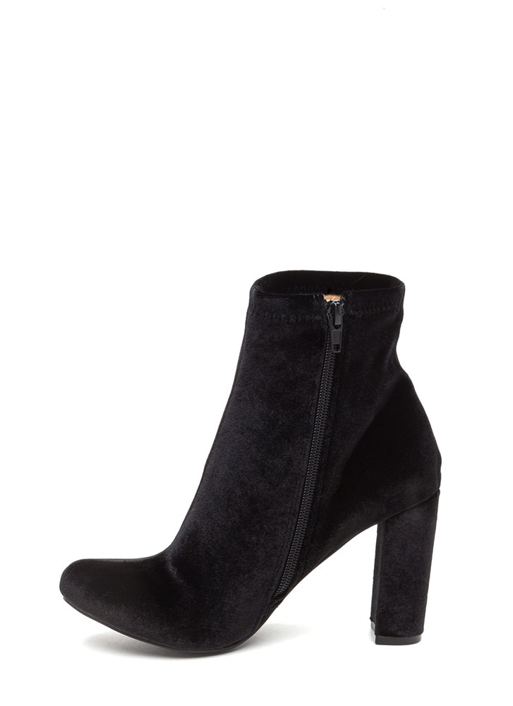 On The Grow Chunky Velvet Booties BLACK