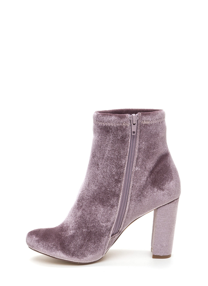 On The Grow Chunky Velvet Booties TAUPE