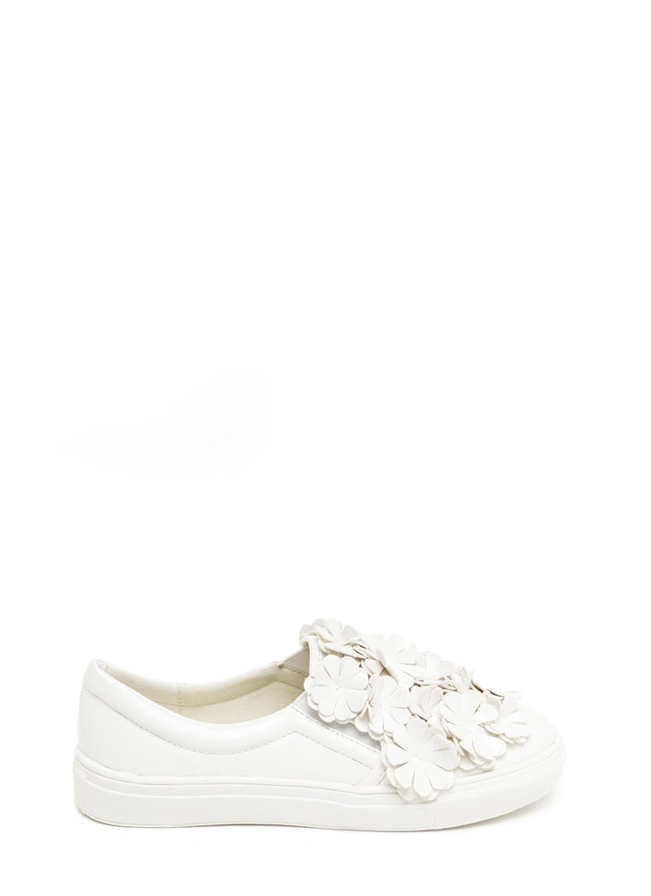 Floral Flow Smooth Slip-On Sneakers WHITE