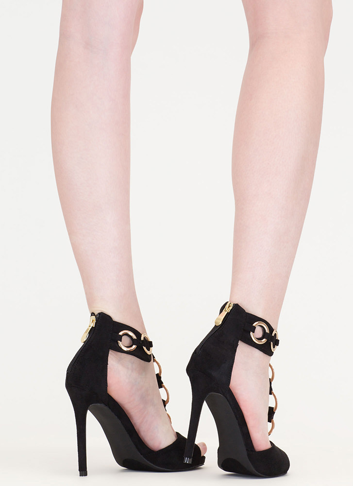 Ring It Together Faux Suede Heels BLACK