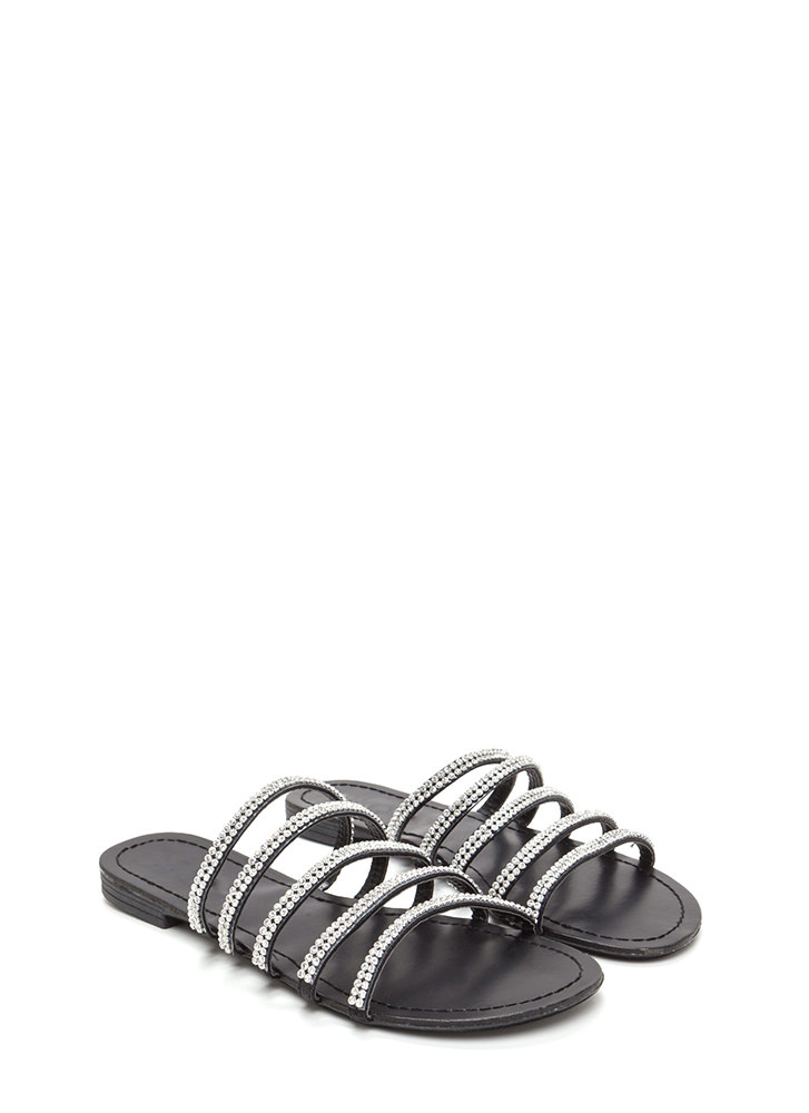 Luxe Good Faux Leather Slide Sandals BLACK