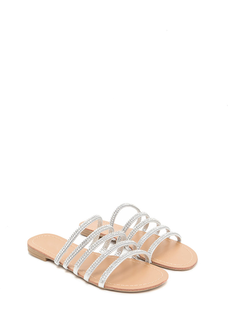 Luxe Good Metallic Slide Sandals SILVER