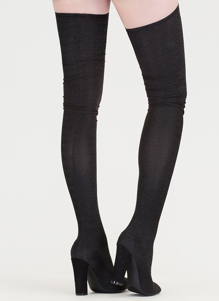 Hint Of Glint Pointy Thigh-High Boots BLACK
