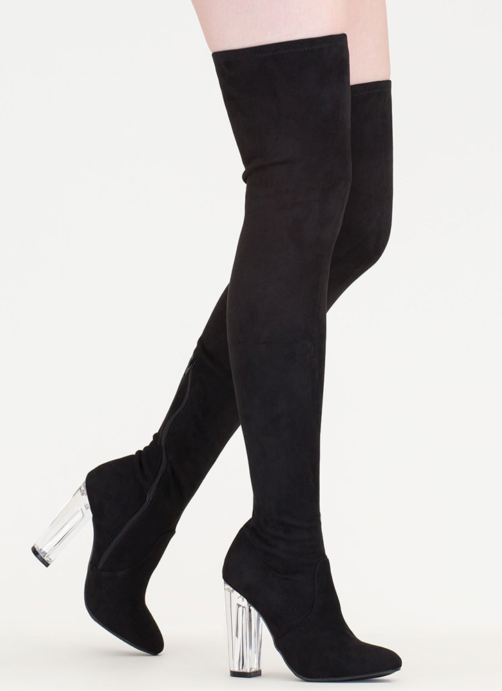 Clearly Cool Chunky Thigh-High Boots BLACK