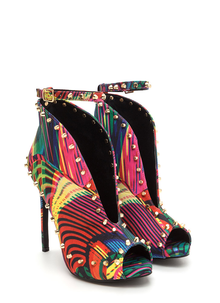 Stud-y Time Plunging Printed Heels MULTI (Final Sale)