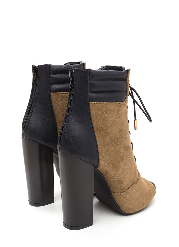 City Strut Mixed Media Heeled Booties OLIVE