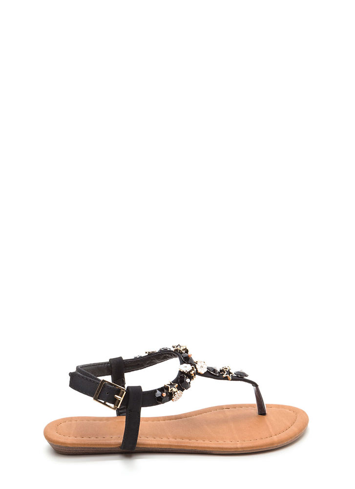 Picking Daisies Sparkly T-Strap Sandals BLACK