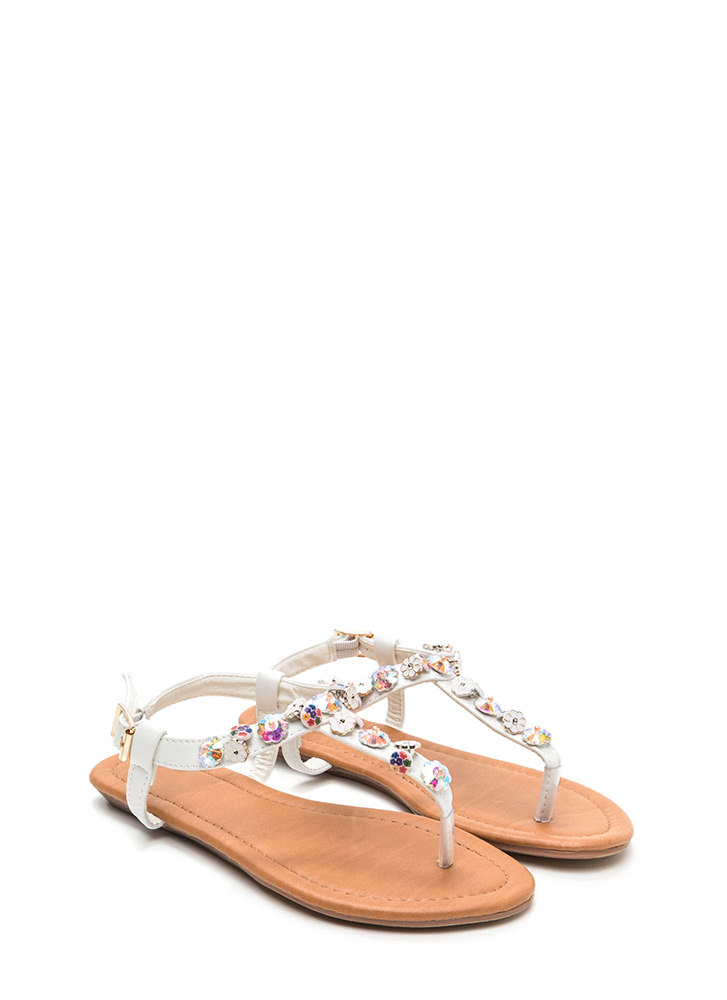 Picking Daisies Sparkly T-Strap Sandals WHITE