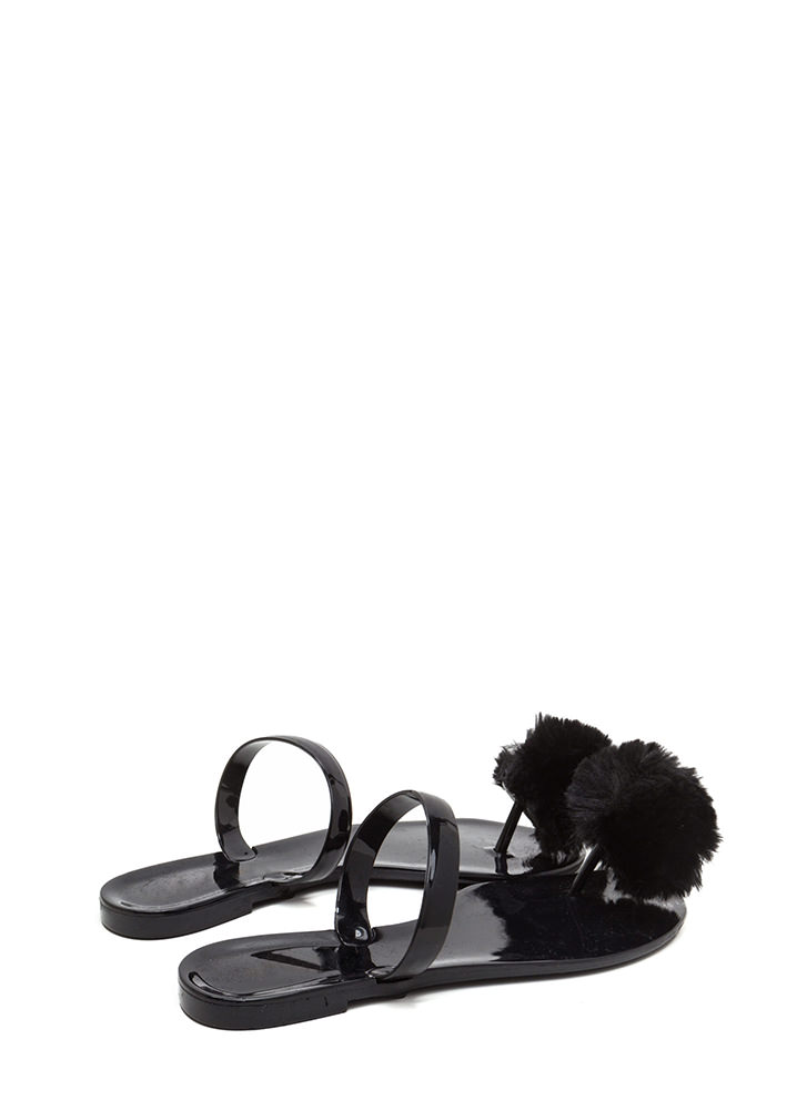 Fur All Time Pom-Pom Jelly Sandals BLACK