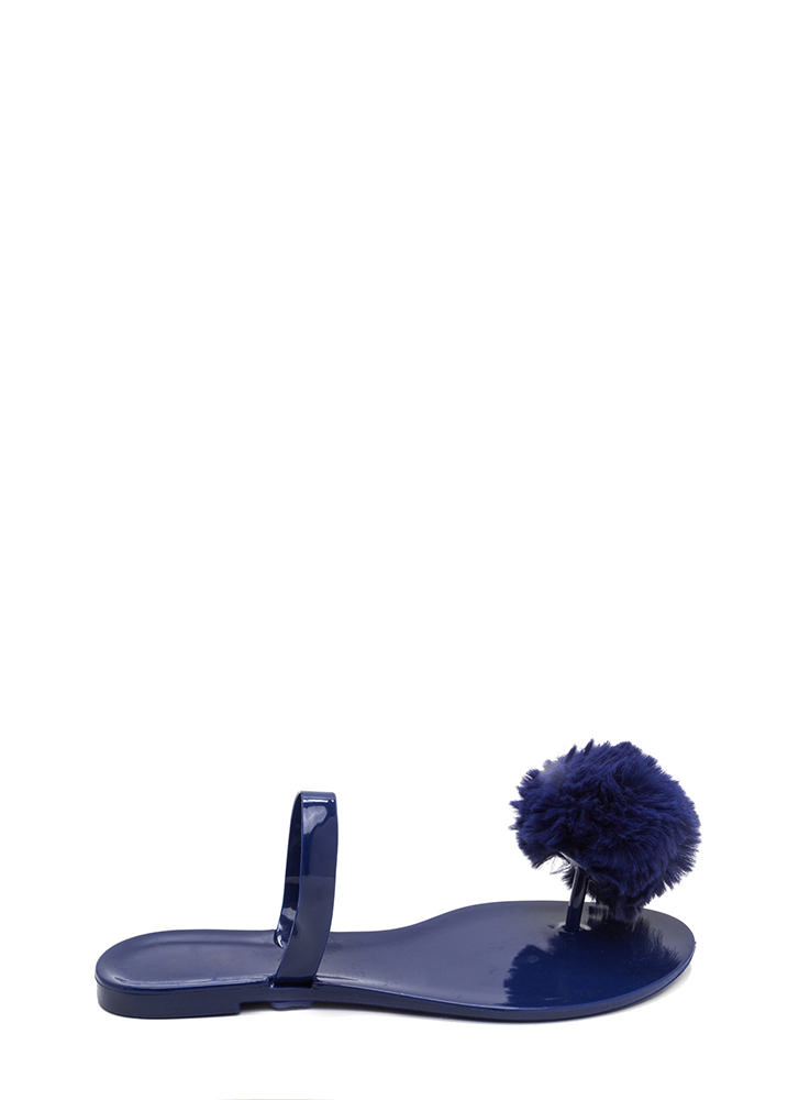 Fur All Time Pom-Pom Jelly Sandals NAVY