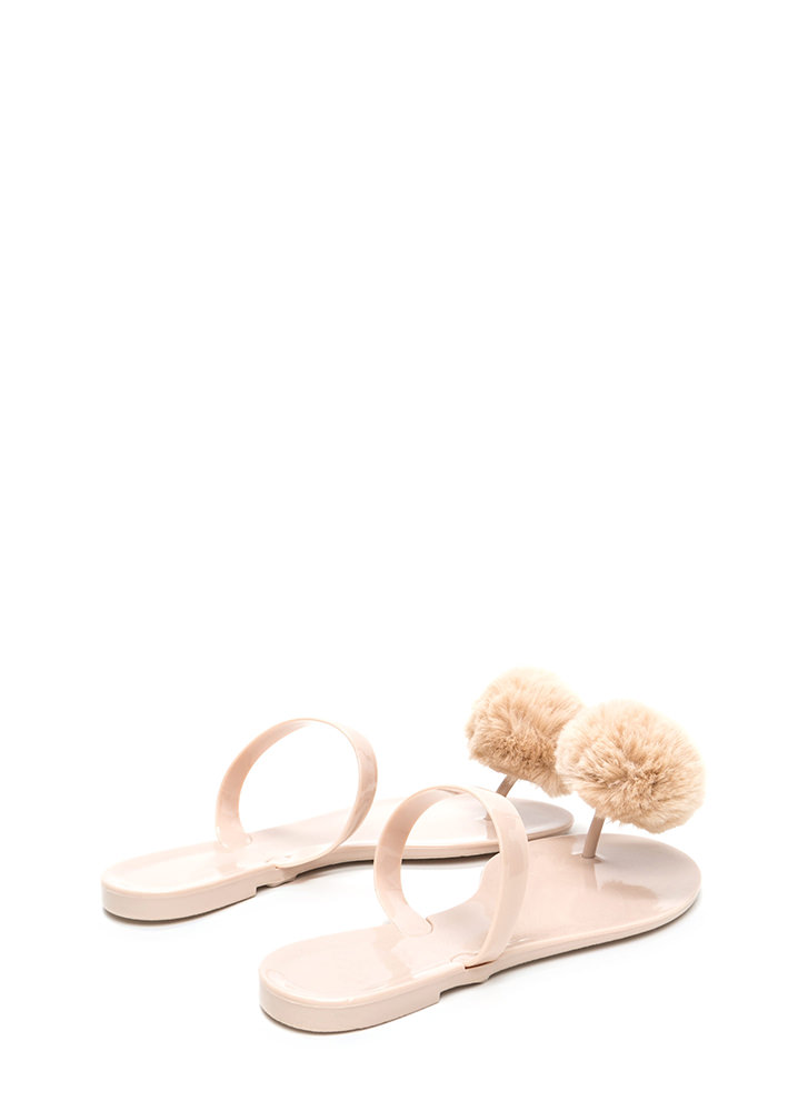 Fur All Time Pom-Pom Jelly Sandals NUDE