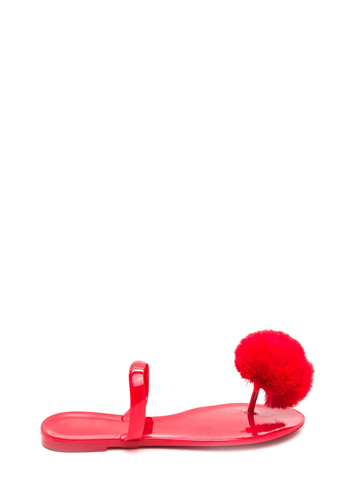 Fur All Time Pom-Pom Jelly Sandals RED