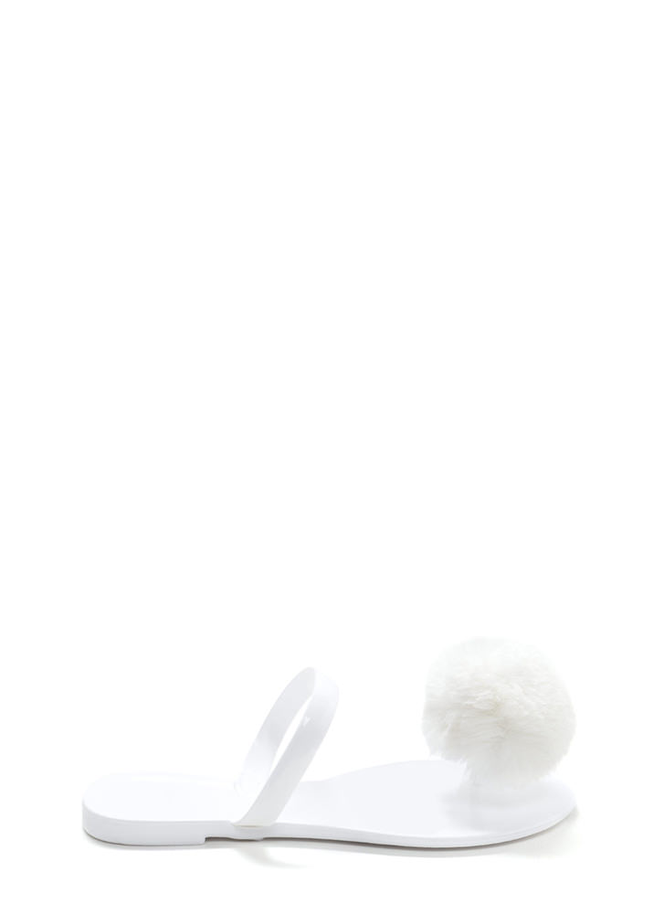 Fur All Time Pom-Pom Jelly Sandals WHITE