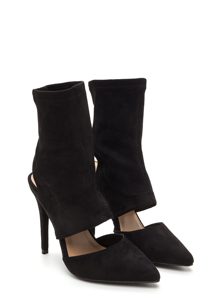 Take A Cut-Out Faux Suede Heels BLACK
