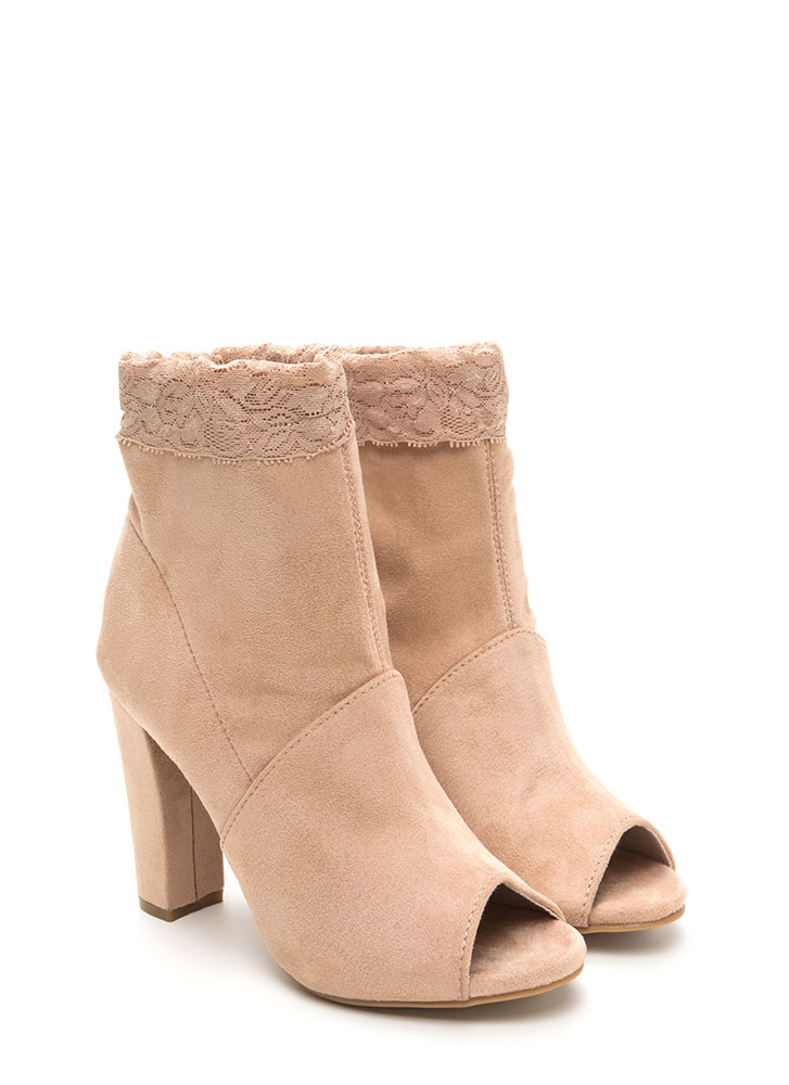 Lace To The Finish Chunky Booties NUDE