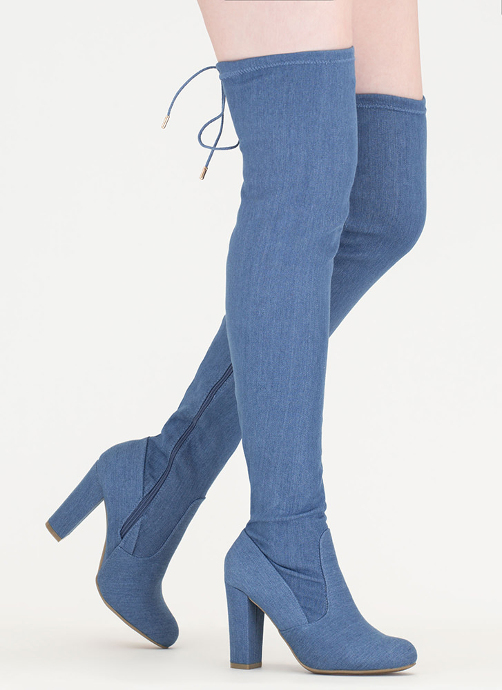 Denim Wonder Chunky Thigh-High Boots BLUE