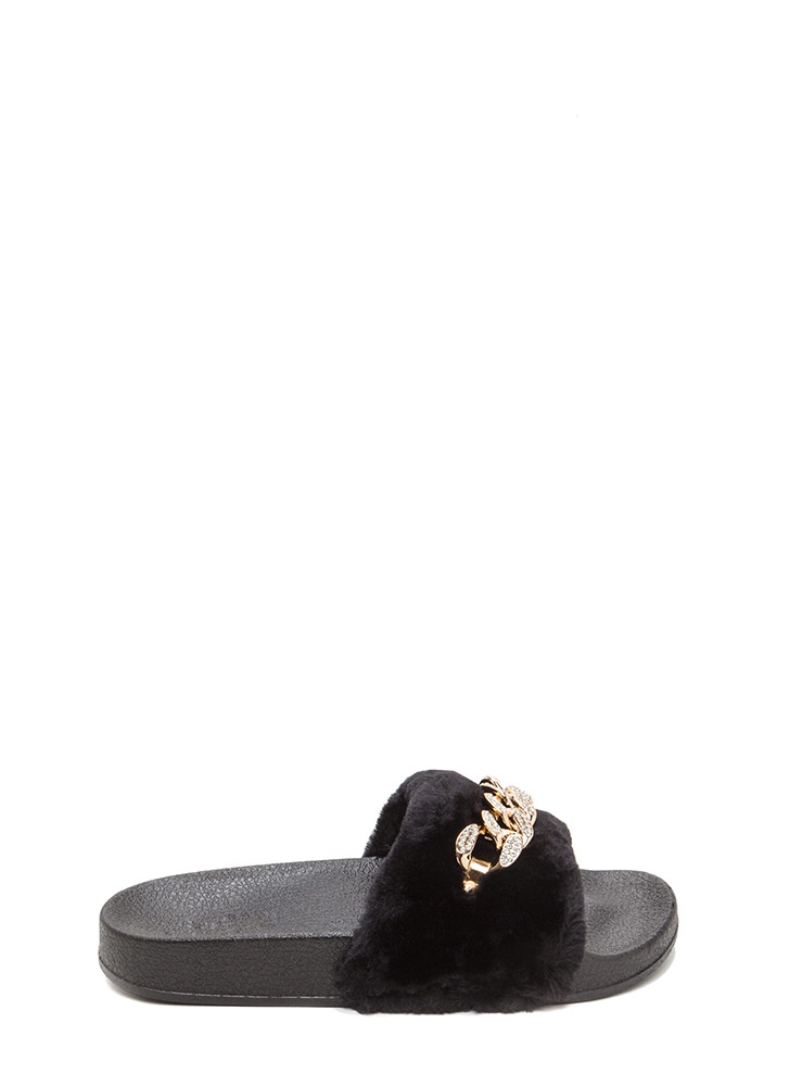 Furry Up Glitzy Chain Slide Sandals BLACK