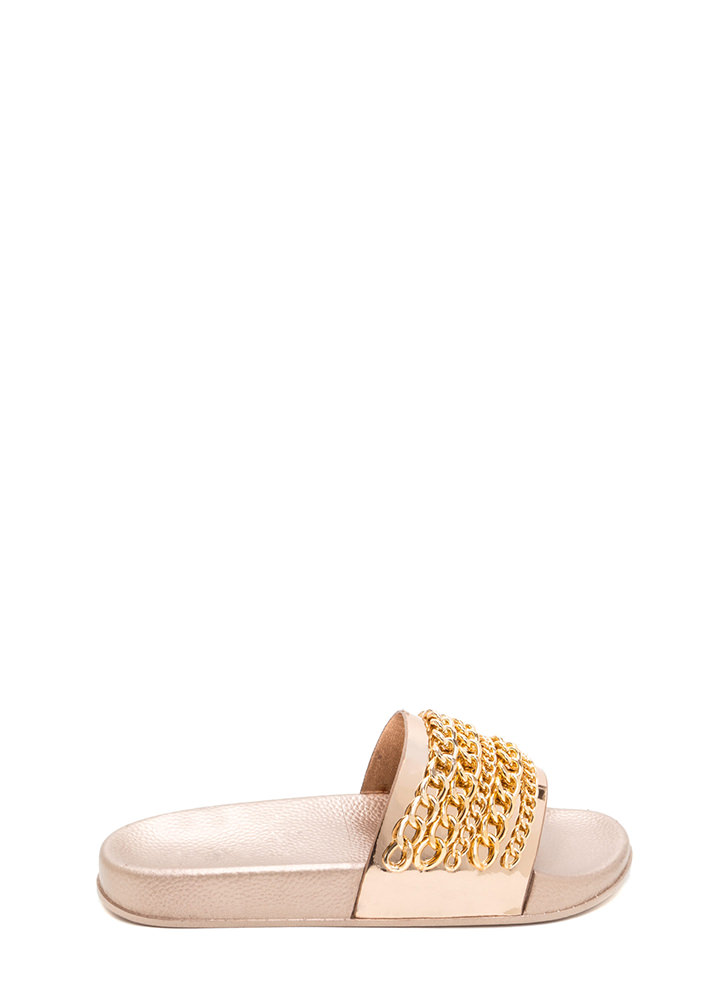 Chain Up Metallic Slide Sandals ROSEGOLD