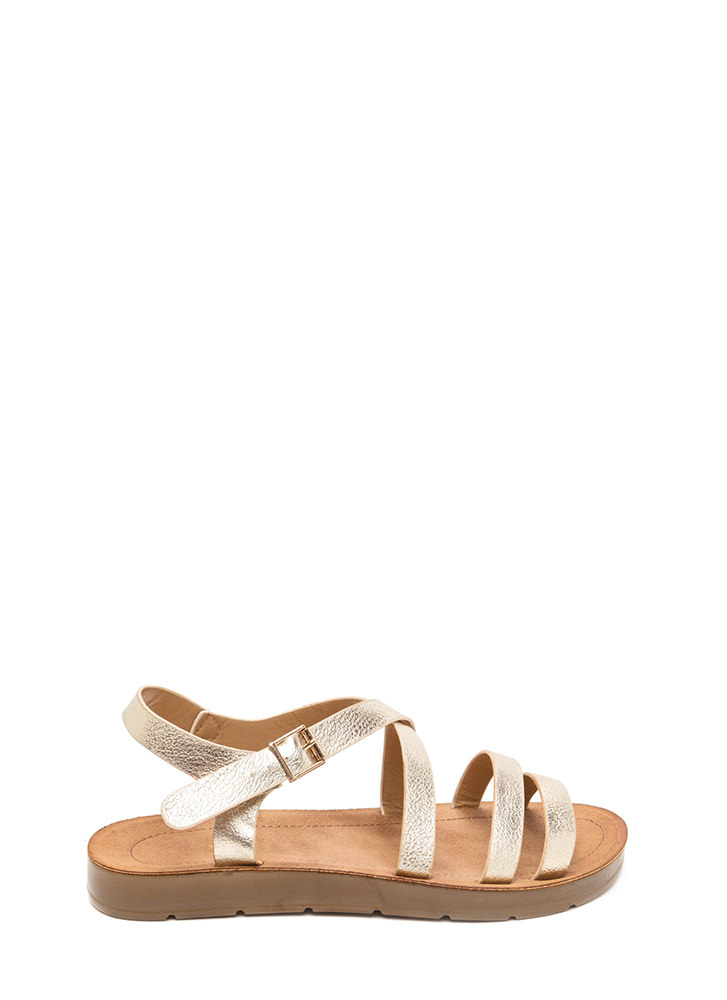 Next Adventure Caged Strappy Sandals GOLD