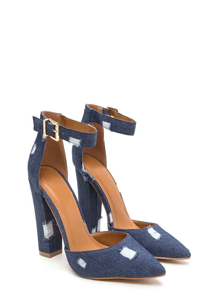 Chic Transformation Distressed Heels BLUE