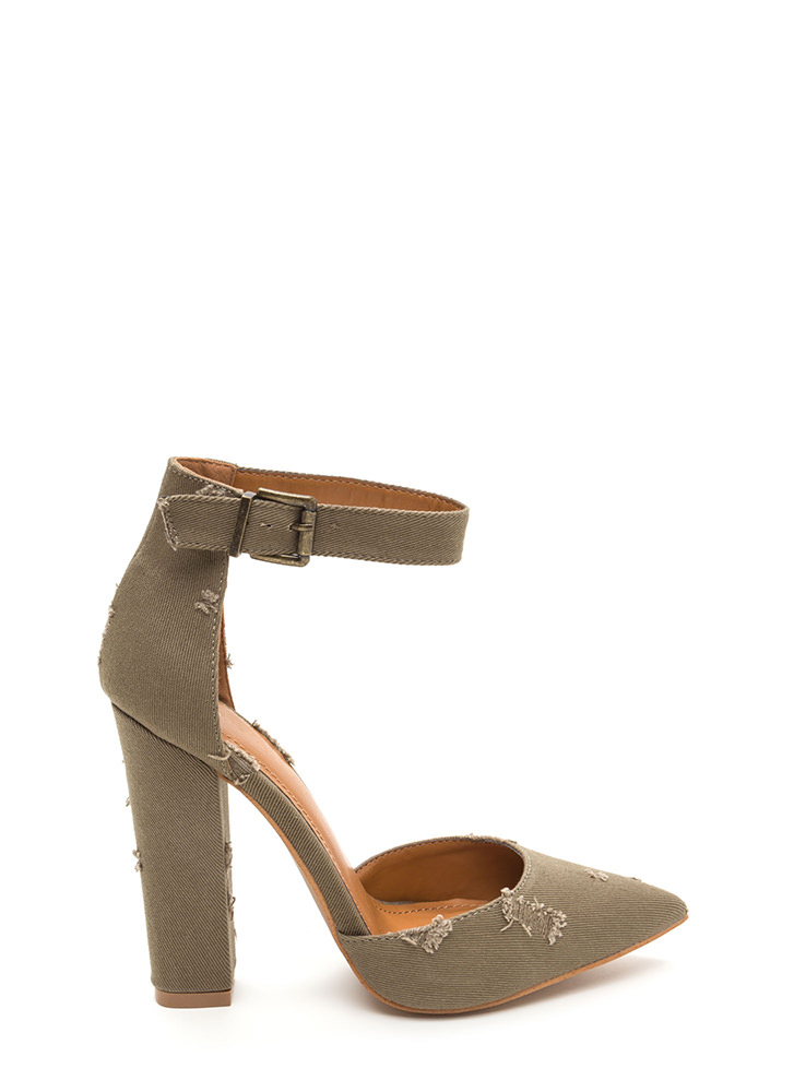 Chic Transformation Distressed Heels KHAKI