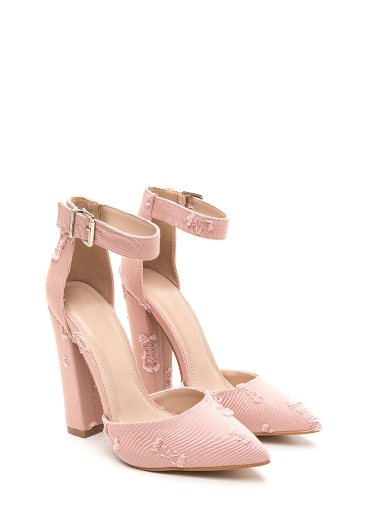 Chic Transformation Distressed Heels PINK