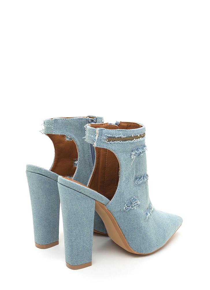 Lift Your Spirits Pointy Frayed Heels BLUE