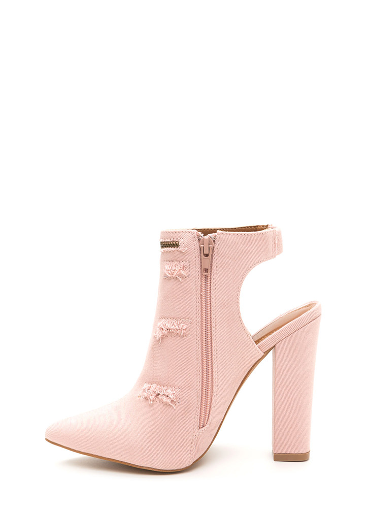 Lift Your Spirits Pointy Frayed Heels PINK