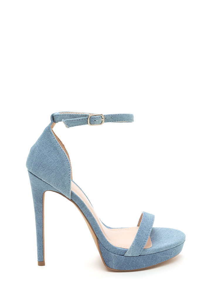Chic 'N Simple Strappy Denim Heels BLUE