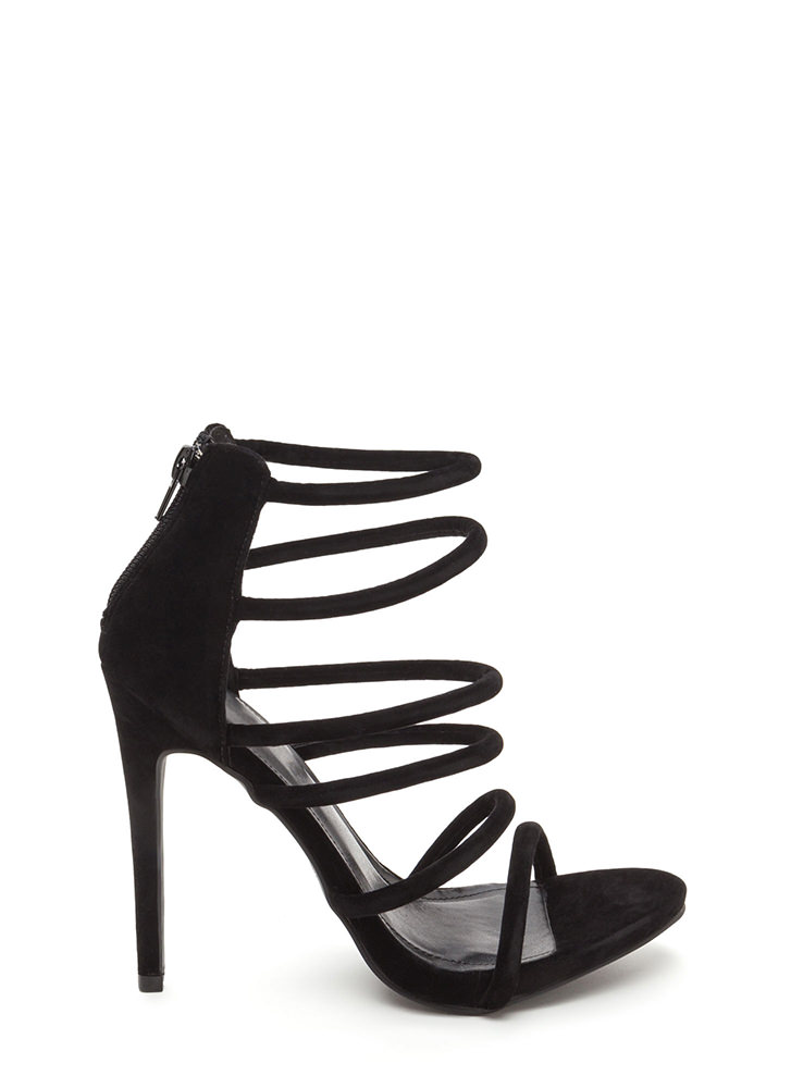 Six Tape Strappy Caged Faux Suede Heels BLACK