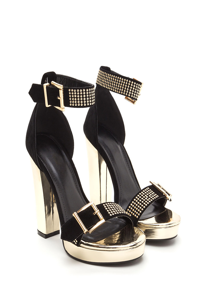 Buckle Up Studded Faux Suede Heels BLACK