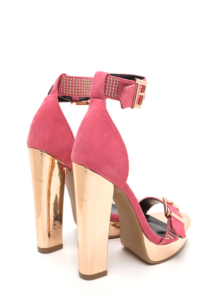 Buckle Up Studded Faux Suede Heels PINK