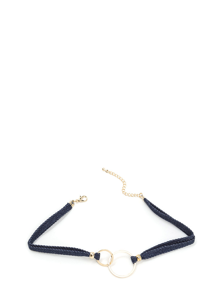 Ring Ring Double Denim Choker DKBLUE (Final Sale)