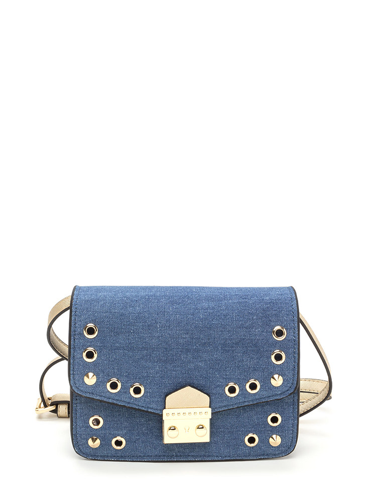 New Hardware Denim Crossbody Bag DKBLUE