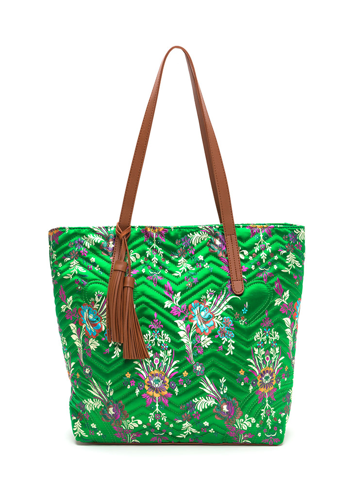 Grow Your Own Way Quilted Satin Tote GREEN (Final Sale)