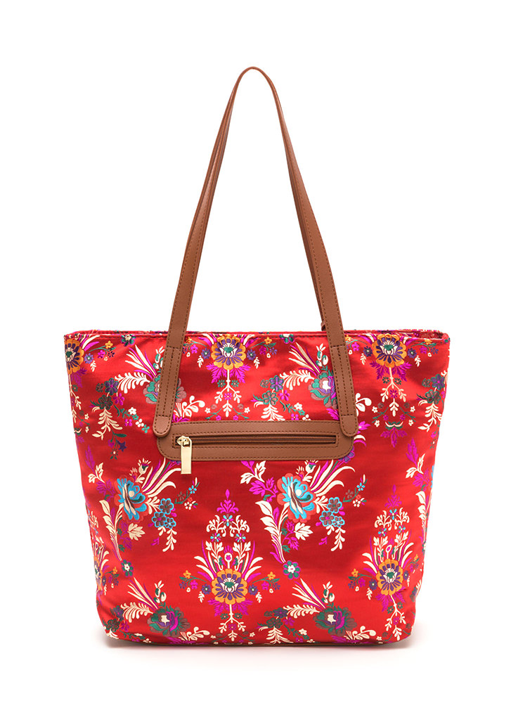 Grow Your Own Way Quilted Satin Tote RED (Final Sale)