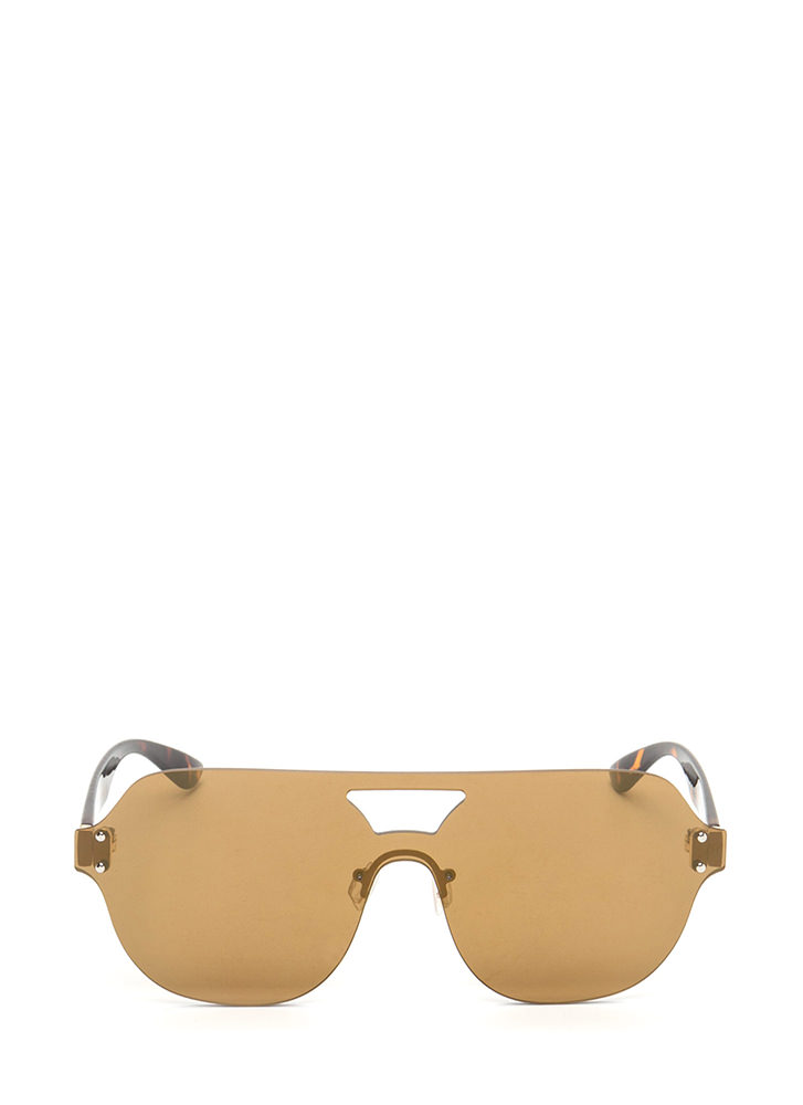 Flight School Frameless Sunglasses BROWN