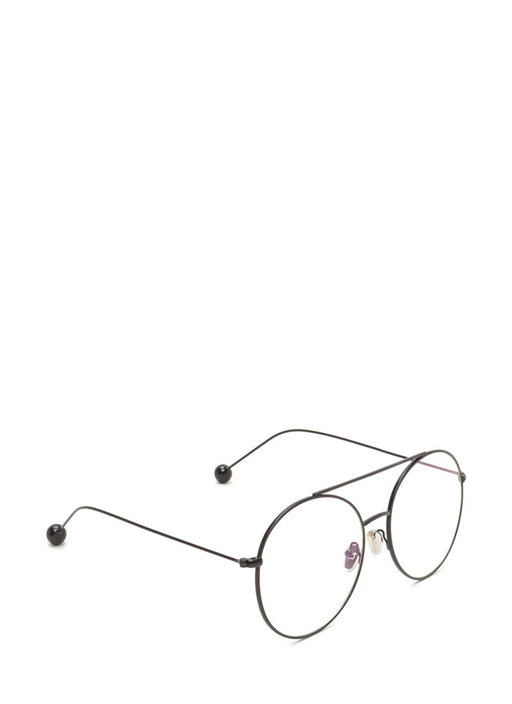 Steer Clear Ball End Aviator Glasses BLACK
