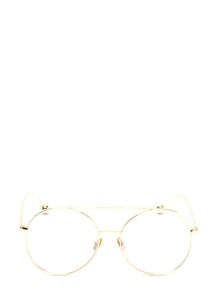 Steer Clear Ball End Aviator Glasses GOLD