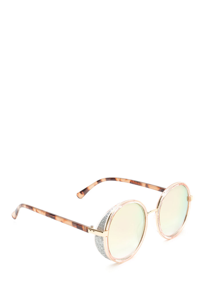 Shield With A Kiss Glittery Sunglasses PINK