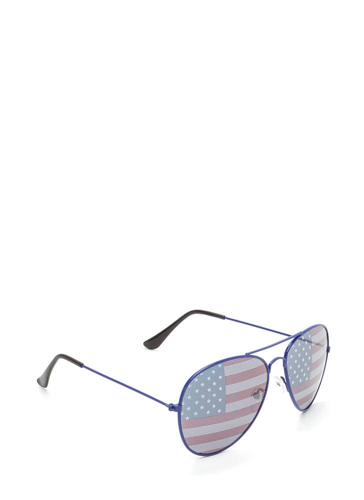 American Flag Day Aviator Sunglasses BLUE