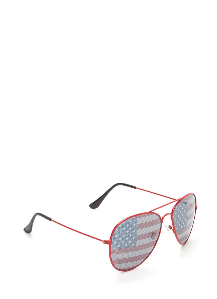 American Flag Day Aviator Sunglasses RED