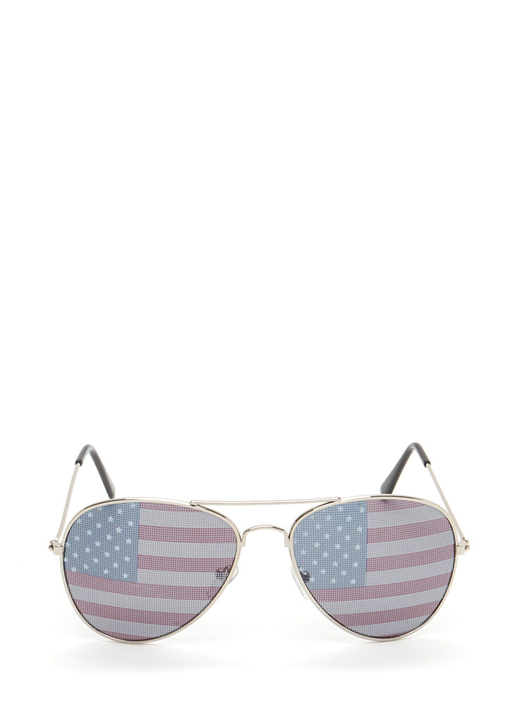 American Flag Day Aviator Sunglasses SILVER