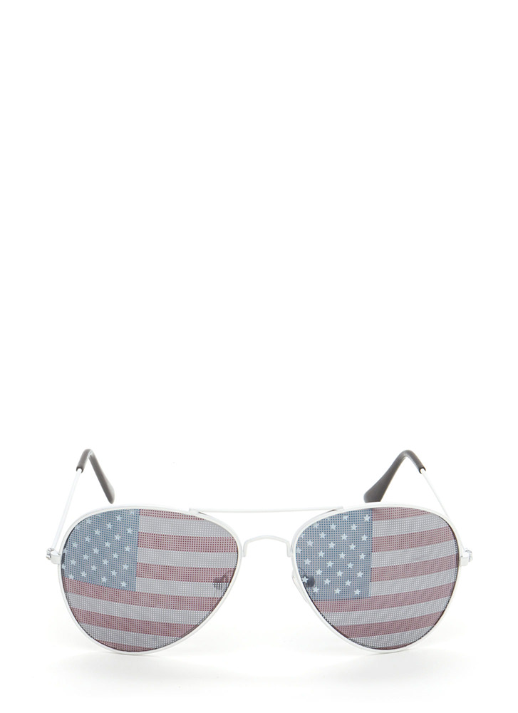 American Flag Day Aviator Sunglasses WHITE