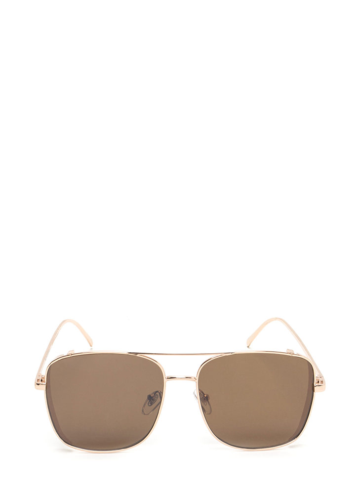Style Squared Aviator Sunglasses BROWNGOLD